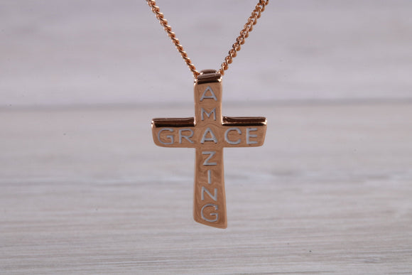 Amazing Grace Cross pendant, made from solid sterling silver with 18ct Rose Gold plating and with high polished finish