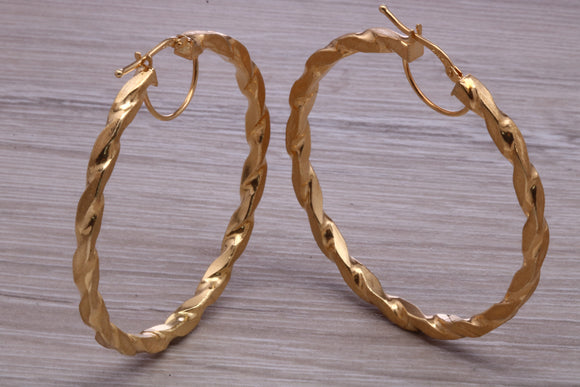 Large Twisted 9ct gold Creole hoop Earrings, Real 9ct gold 50 mm creole hoops, light weight and comfortable to wear