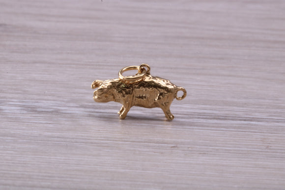 Small Farm Pig Charm, solid and heavy and available in your choice of Yellow or White Gold and 950 grade Platinum