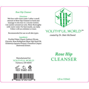 Youthful.World Rose Hip Cleanser Label