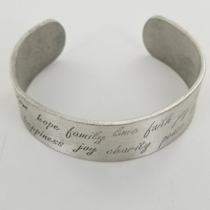 Hope, Family, Love - Bracelet - Cuff - Pewter - Etched