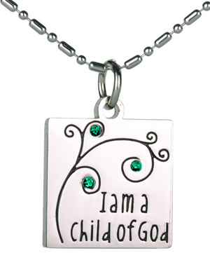I Am A Child of God - Necklace - Green - Emerald