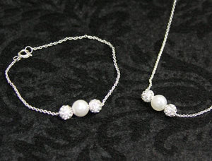 F934, F953 Baptism Necklace Bracelet Set-Whit Spkle