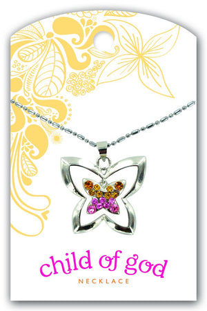 B232, Wall 14 Baptism Dangle Necklace Butterfly COG