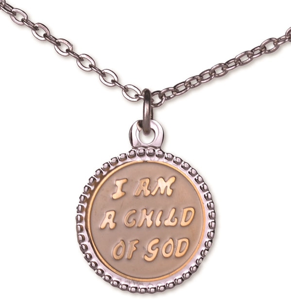 C953 Necklace Child/God Round Tutone