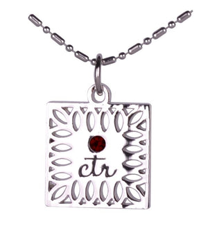 D643 Necklace CTR Birthstone Jan-- Garnet