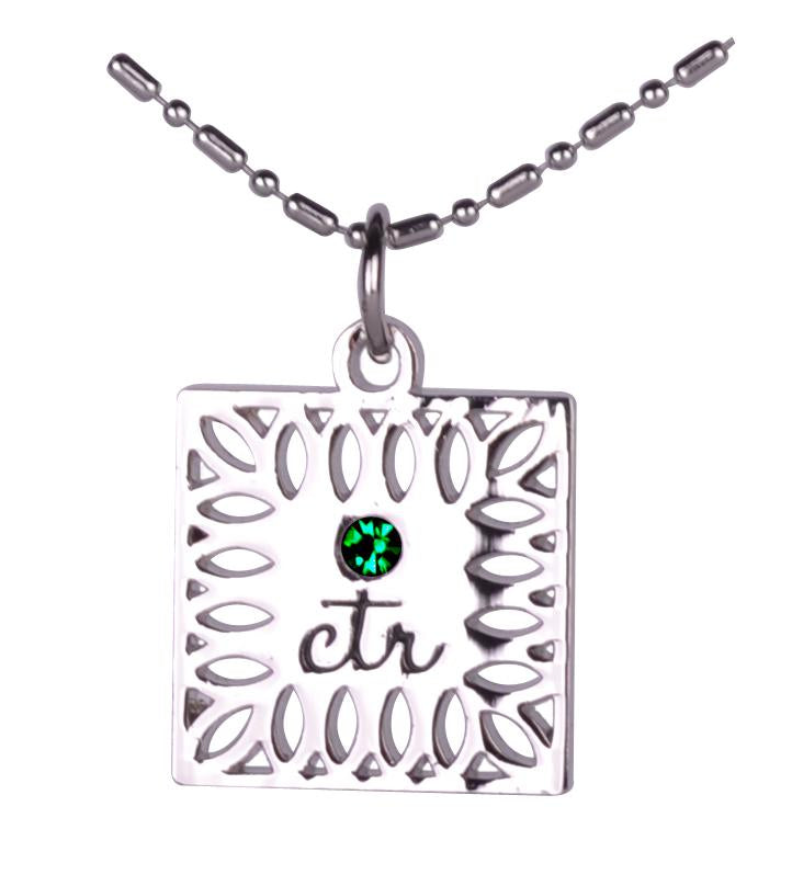 D646 Necklace CTR Birthstone May-- Emerals