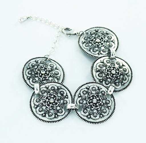 C842, I172 Mother's Day Medallion Bracelet Silver