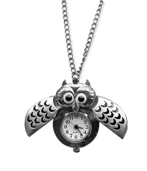 C945, C911 Owl Watch Necklace (Silver)