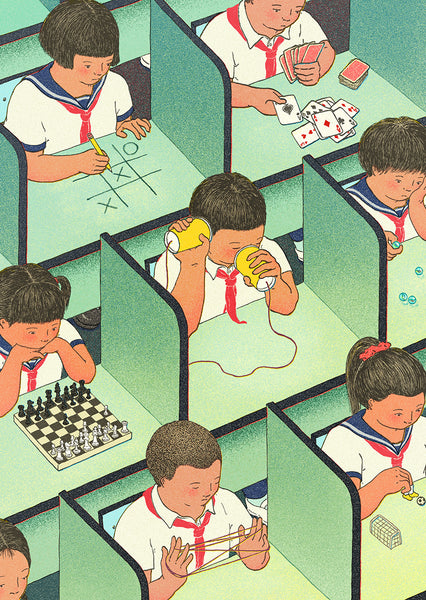 Illustration of schoolchildren in cubicles playing games alone.