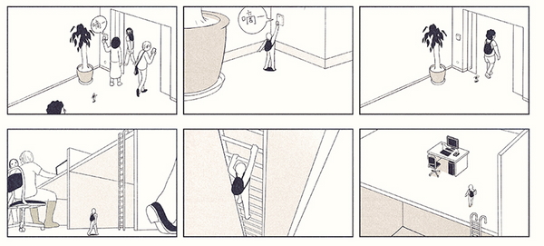 Comic of a tiny person going to work with full sized people and climbing a ladder to get up to their desk.
