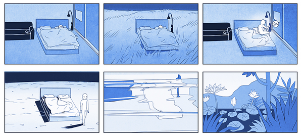 Short comic of a man waking from sleep and walking into a garden.