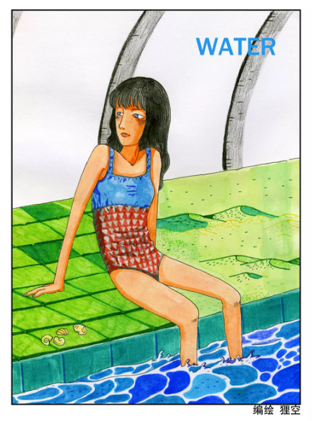 Illustration of a girl with her feet hanging into a pool