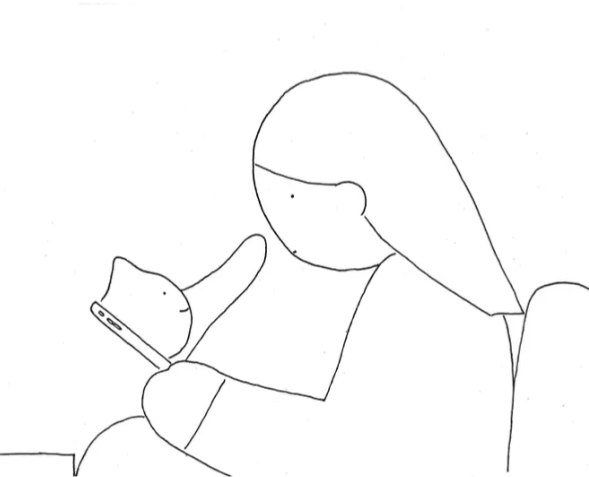 Illustration of a cat reaching through a cellphone to touch a woman.