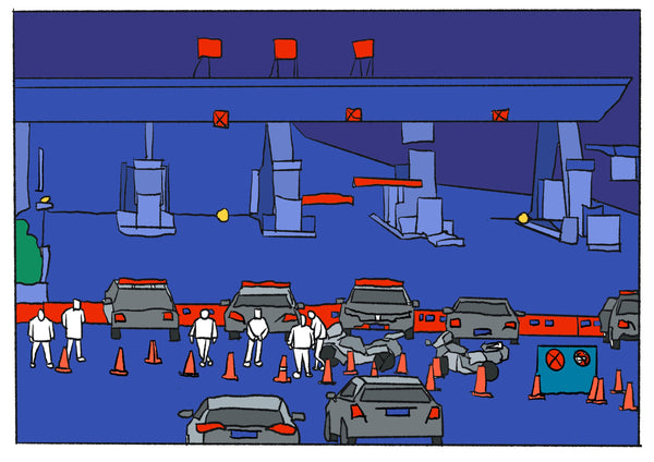 Mostly blue illustration of a police barricade.