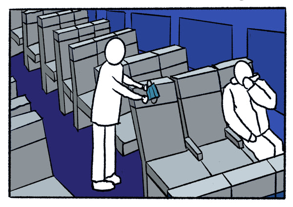 Mostly blue illustration of an empty airplane.