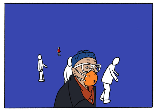 Mostly blue illustration of a man wearing an orange rind as a mask.