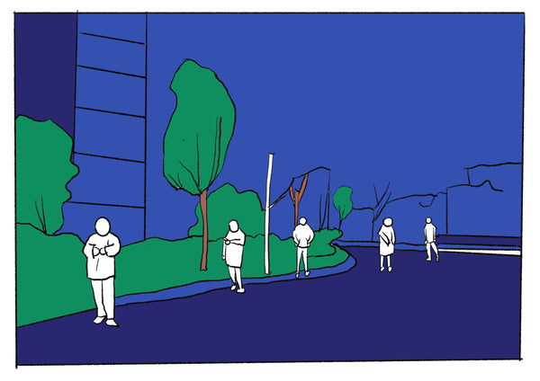 Mostly blue illustration of people waiting in a socially distanced line.