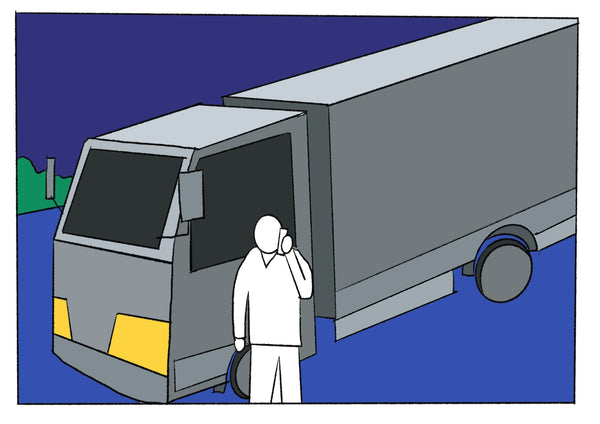 Mostly blue illustration of a man in front of a large truck.