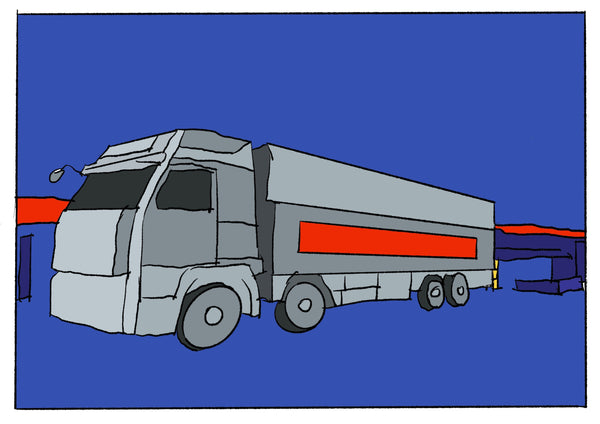 Mostly blue illustration of a large truck.