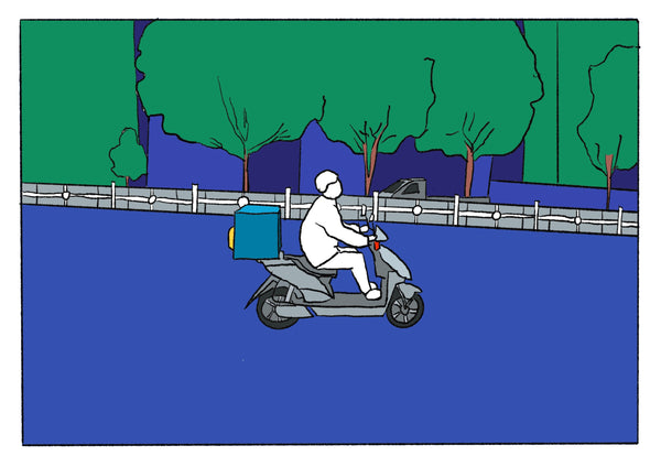 Mostly blue illustration of a man on a scooter.