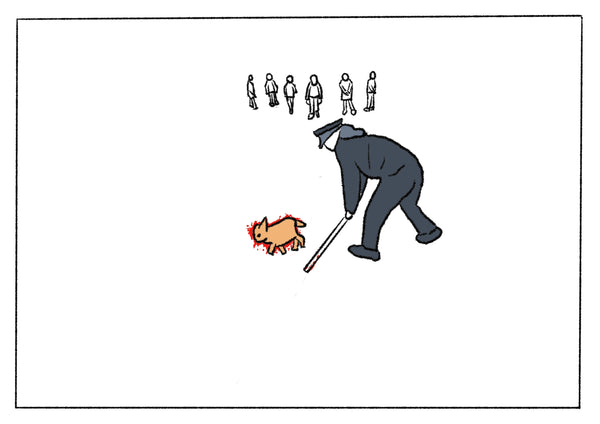 White illustration of a man beating a dog to death.