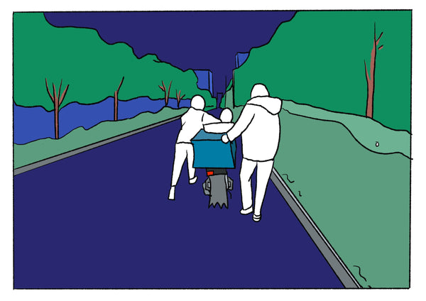 Mostly blue illustration of several people pushing a scooter.