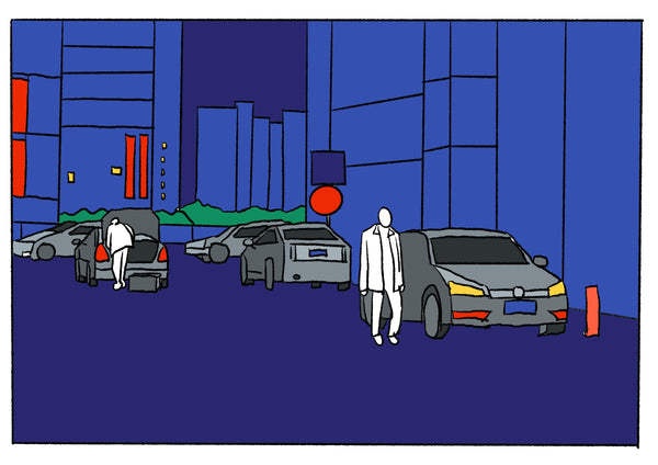 Mostly blue illustration of several people outside of their cars.