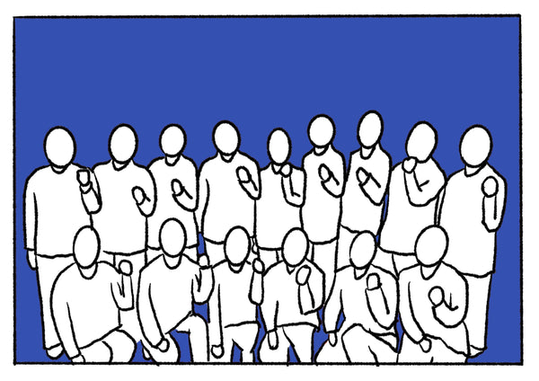 Mostly blue illustration of a group photo.