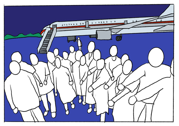 Mostly blue illustration of a group photo in front of a plane.