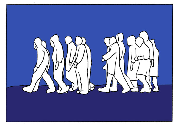 Mostly blue illustration of a group of people walking.