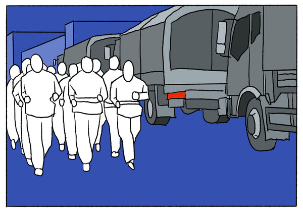 Mostly blue illustration of a group of people jogging next to military looking trucks.