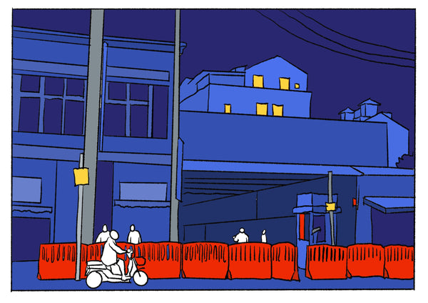 Mostly blue illustration of a street with a red safety fence.