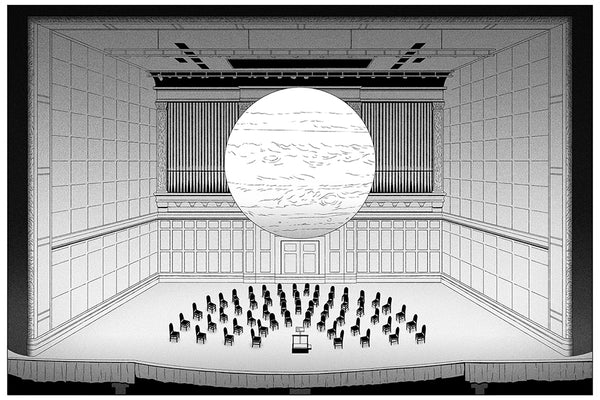 Illustration of a planet hanging over an empty orchestra setup.