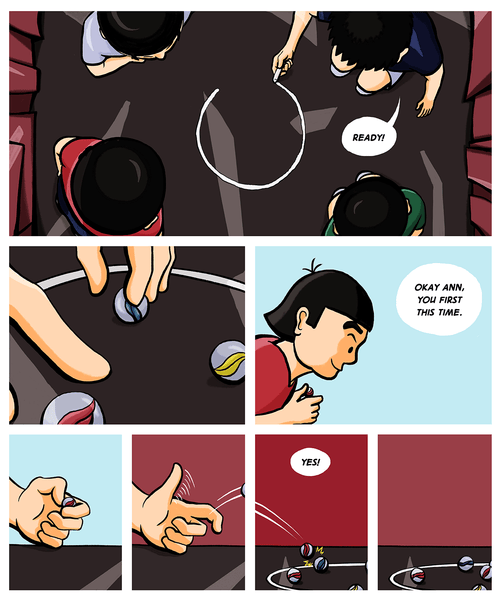 A page from House on Horse Mountain, featuring a young Asian girl playing marbles with friends.