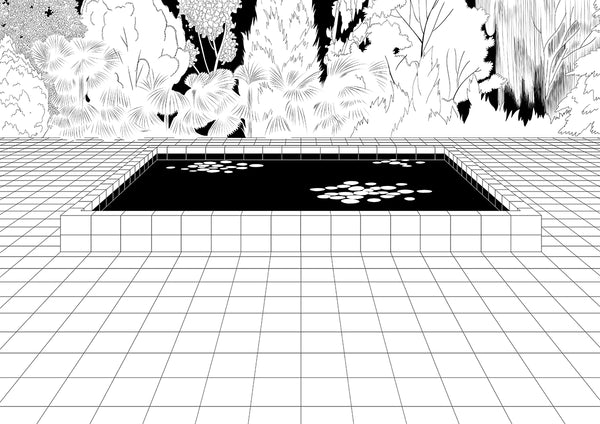 Illustration of a pool with a forest behind it.