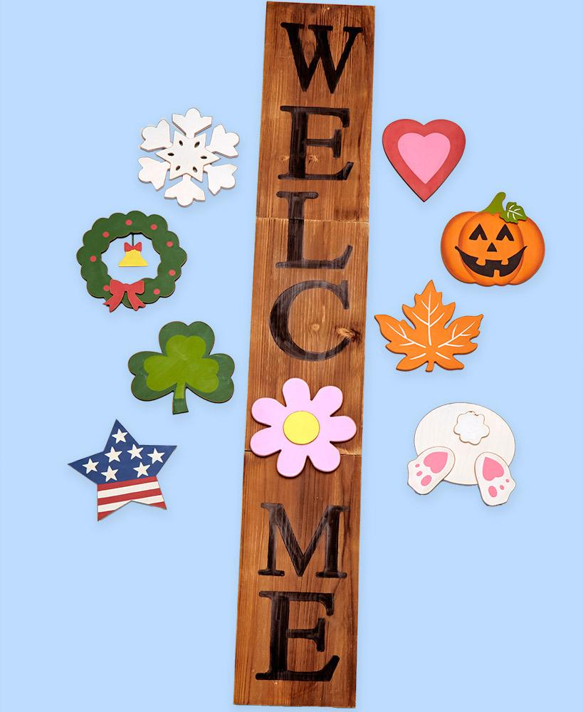 4-Pc Interchangeable Welcome Home Wreath Sign Wall Art