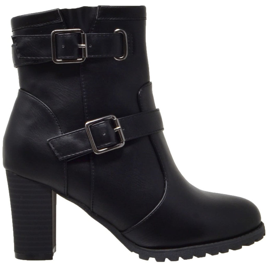 Block Heel Ankle Boot - Black