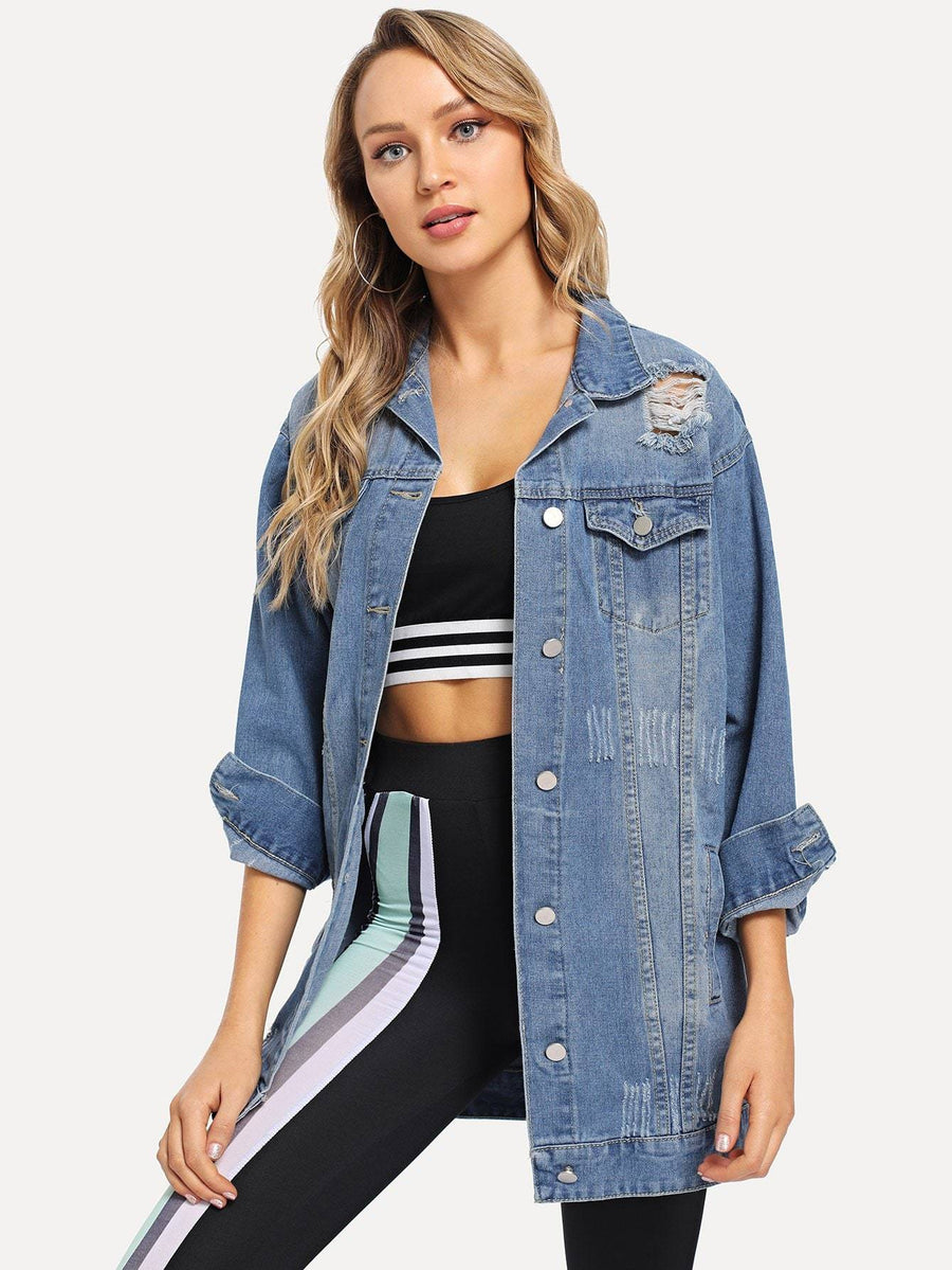 Faded Ripped Denim Jacket Women - Apparel - Jackets & Coats Tigerlily and Me