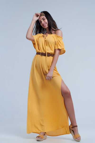 Long yellow dress with a split Women - Apparel - Dresses - Casual Tigerlily and Me