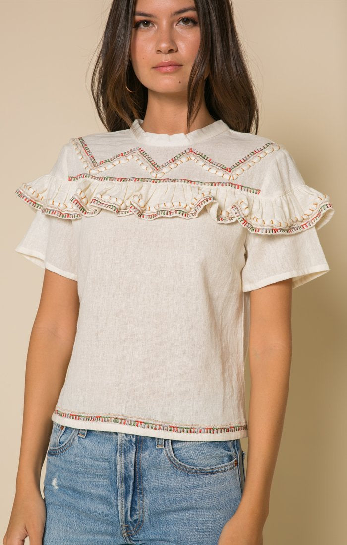 Lyra Ruffle Top Women - Apparel - Shirts - Blouses Tigerlily and Me