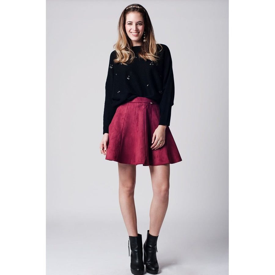 Marsala Suede Flare Skirt Women - Apparel - Skirts Tigerlily and Me