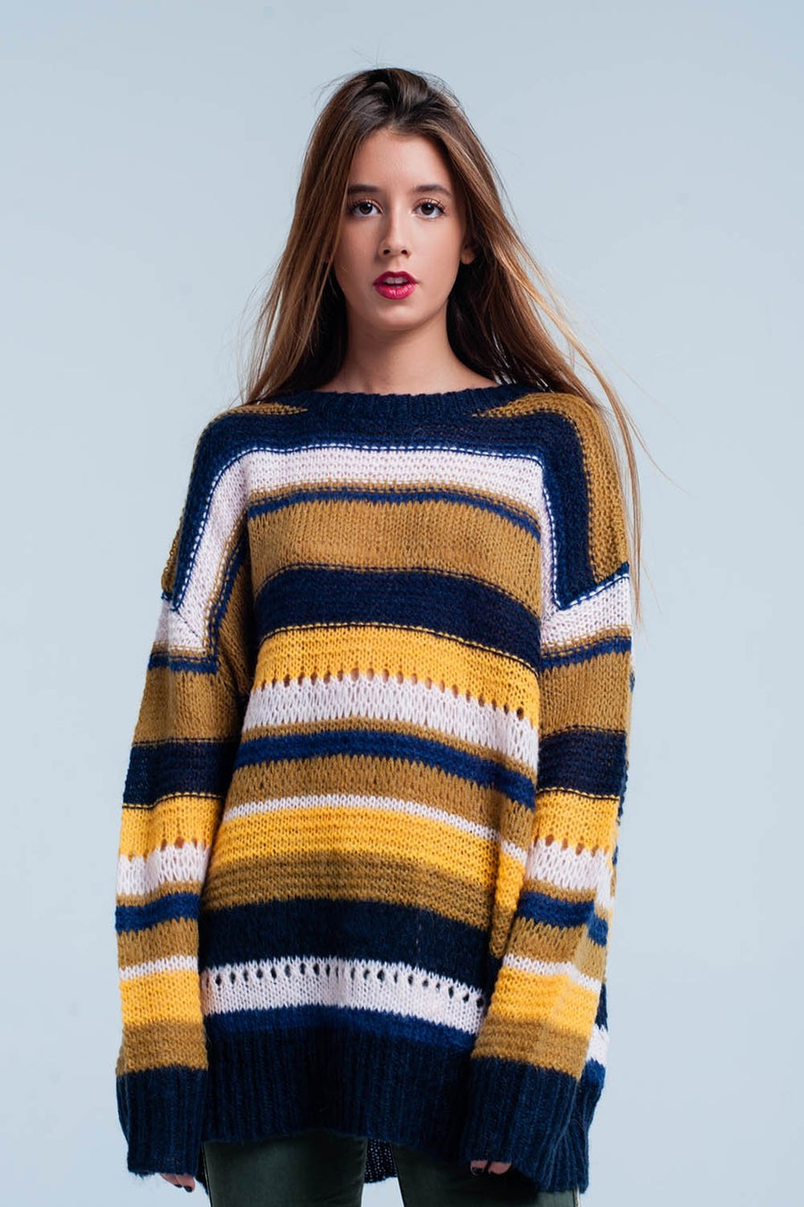 Mustard chunky knit striped oversized Sweater Women - Apparel - Sweaters Cardigans and Tops Tigerlily and Me