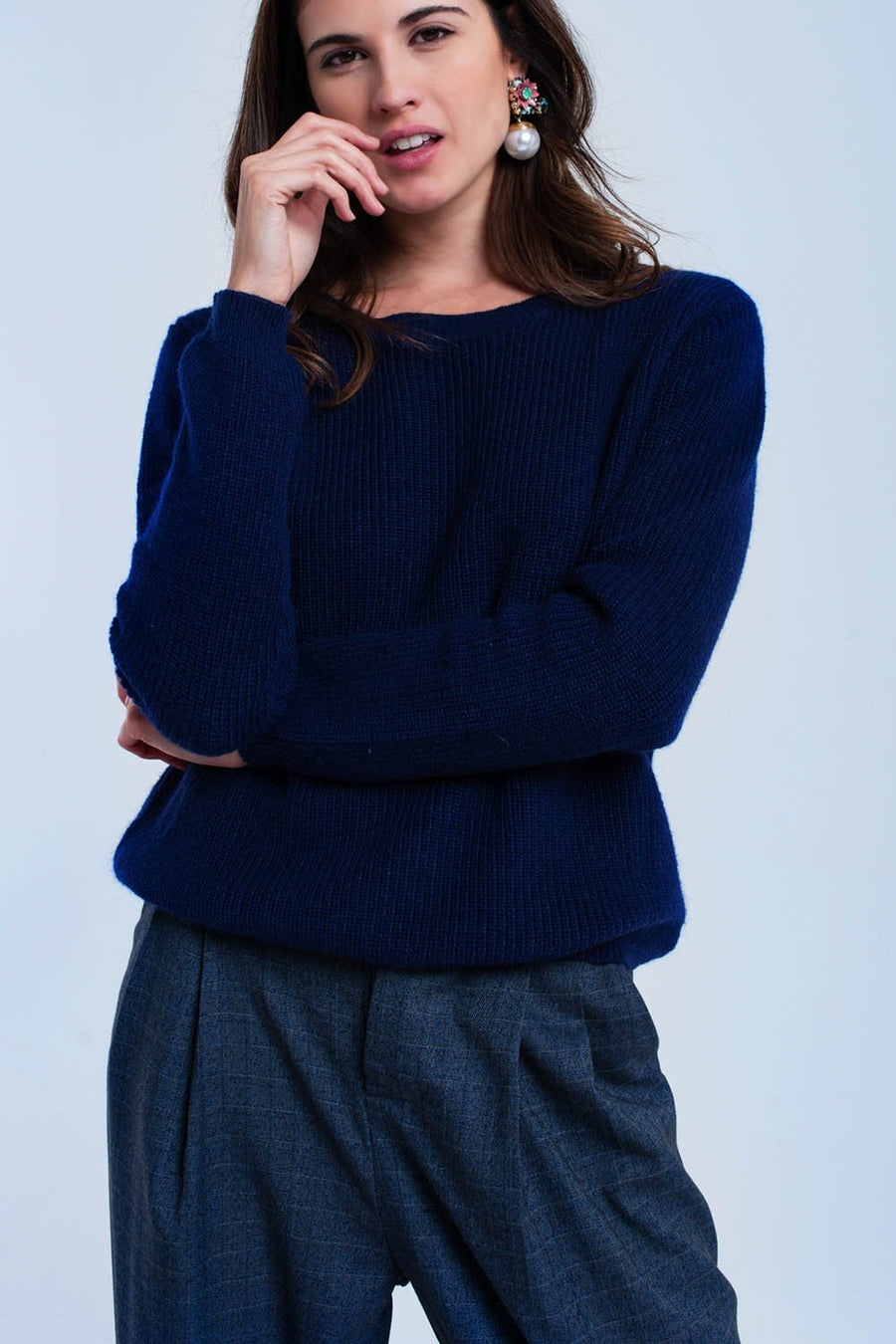 Navy sweater with black ribbons Women - Apparel - Sweaters Cardigans and Tops Tigerlily and Me
