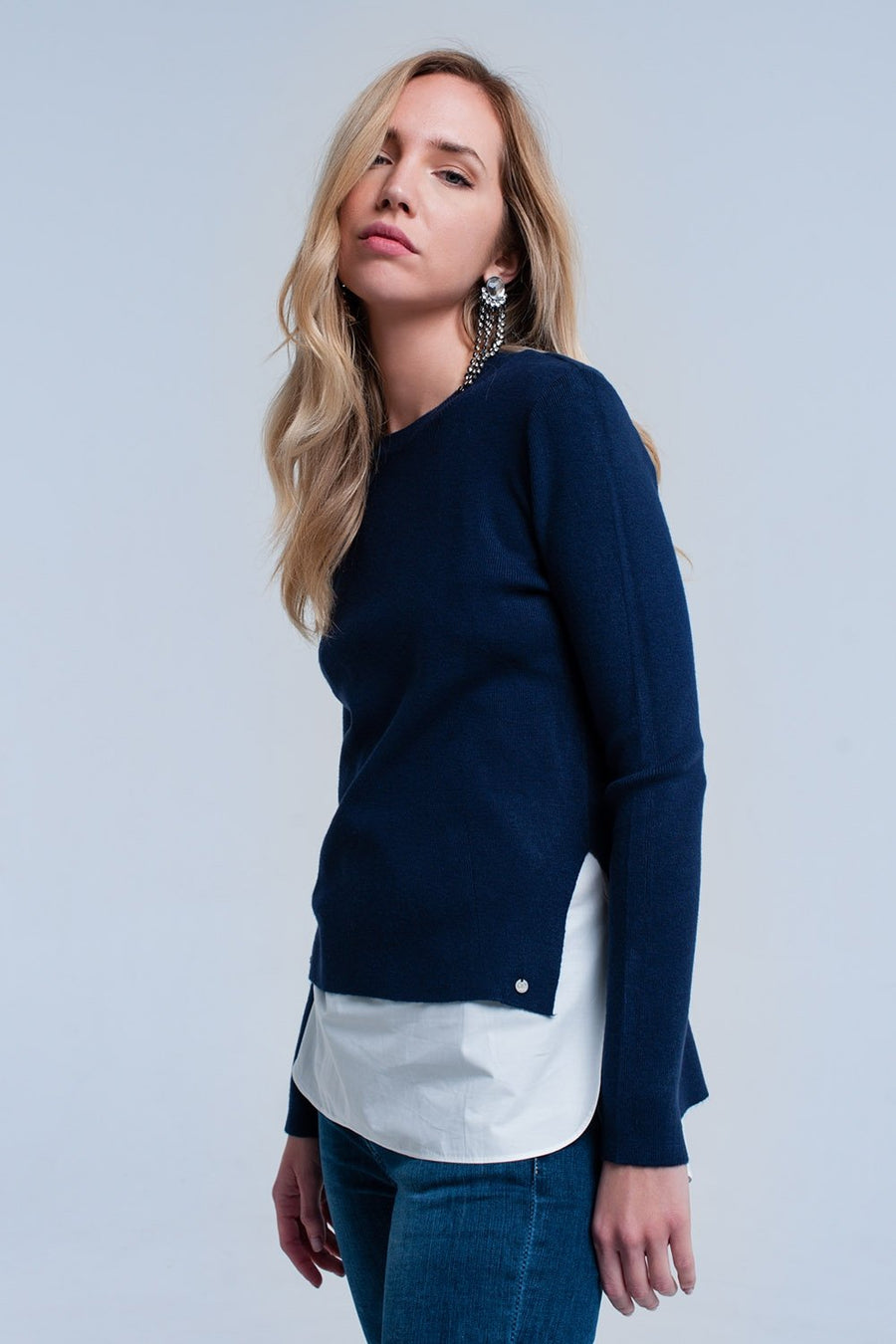Navy sweater with shirt Women - Apparel - Sweaters Cardigans and Tops Tigerlily and Me