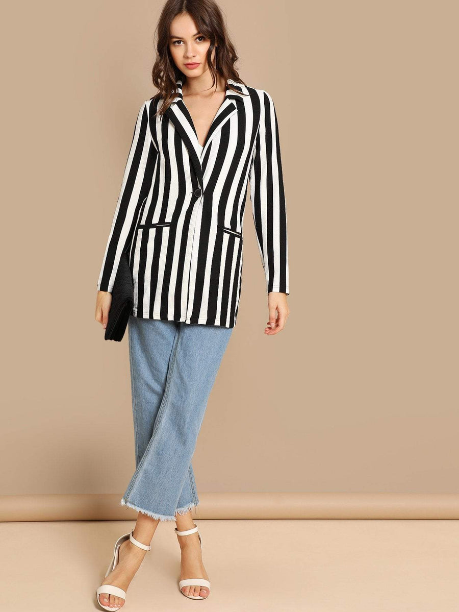 Notch Collar Striped Blazer Women - Apparel - Jackets & Coats Tigerlily and Me