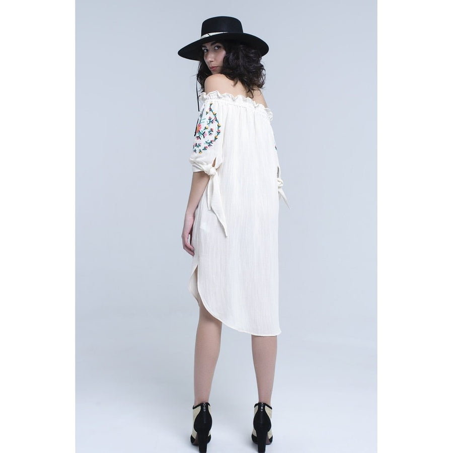 Off the Shoulder Embroidered Dress - Ivory Women - Apparel - Dresses - Casual Tigerlily and Me