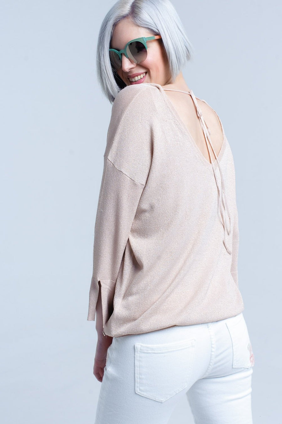 Pink knit sweater with gold lurex detail Women - Apparel - Sweaters Cardigans and Tops Tigerlily and Me