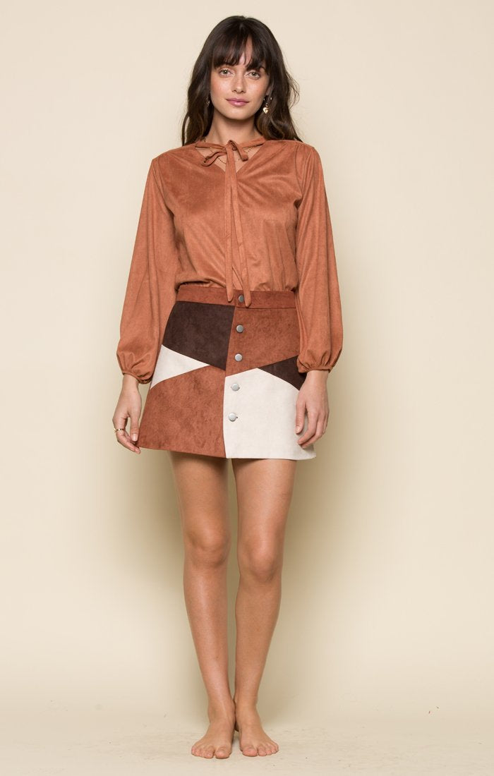 RILEY FAUX SUEDE BUTTON UP SKIRT Women - Apparel - Skirts Tigerlily and Me