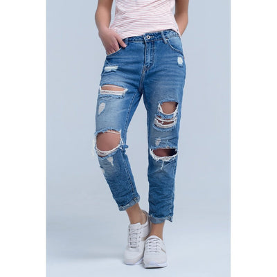 Ripped Boyfriend Jeans Women - Apparel - Trousers & Jeans Tigerlily and Me